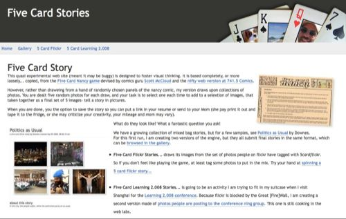 Five Card Story Site