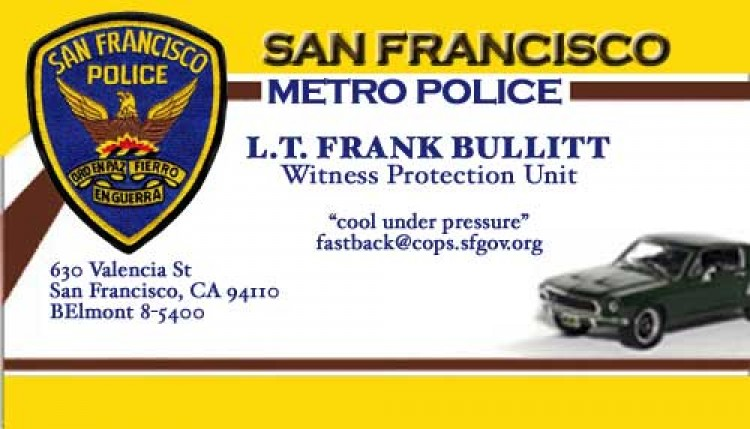 Calling Card for a Fast Moving Hard Working Cop