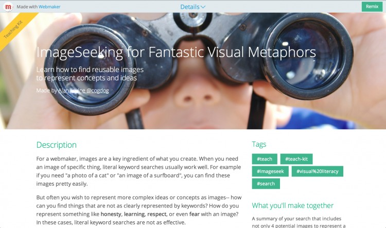 The ImageSeek Mozilla Webmaker Teaching Kit