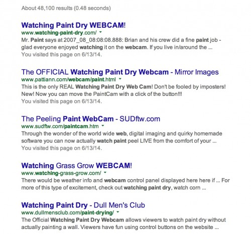Searching for paint drying web cams