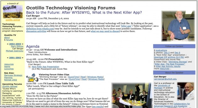 Dec 2002 Ocotillo Visioning Forum (Wayback Machine)
