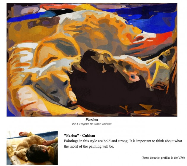 "Farica painter, a ""Cubism"" style (note original in lower left), yes the subject is Taka's dog Loux."