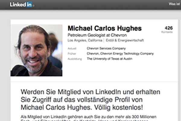 screen shot from LinkedIn for Michael Carlos Huges, who has a very handsome face. Mine.
