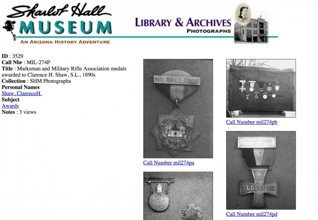 Clarence H Shaw medals from Sharlot Hall Museum Archoves