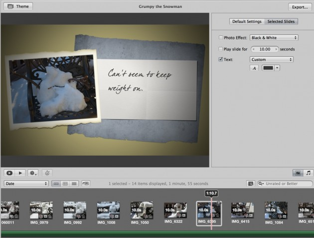 The slide show editing interface in Aperture