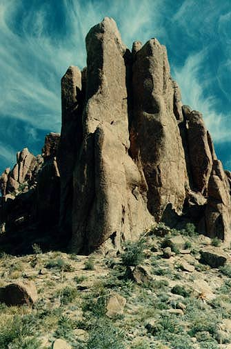 Pillars at the top of the Superstition Mountains, my own pre-digital photo, taken before 1996 (date it was scanned)