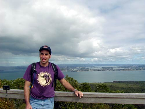 Standing atop Rangitoto Island in Auckland, sporting my Cosmic Bike Shop t-shirt from Flagstaff.