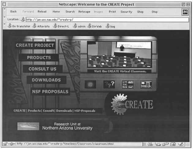 CREATE Project from Northern Arizona, vintage 1999! Netscape browser too.