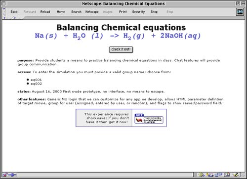 "Balancing Chemical Equations Multiuser ""Game"""