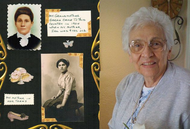Mom's scrapbook photos of my grandmother, and great-grandmother, along side a photo of Mom taken February 2011