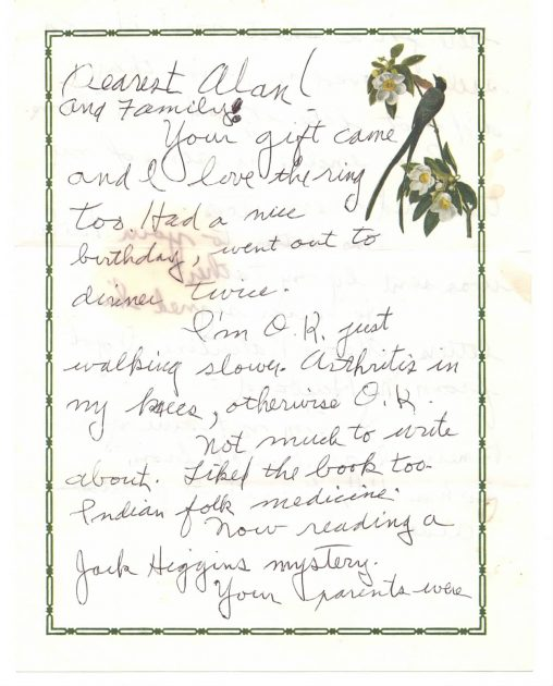 Page 1 of grandma's letter, mostly a telling of what she had been doing.