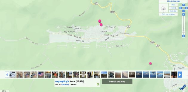 Public view of my flickr photo map; when I am logged in I see many more pink dots in town, many right on my house