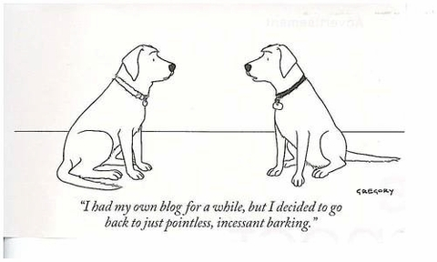 cartoon of dog to another saying