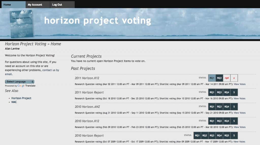 Horizon Project voting tool screenshot
