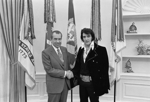 Tricky Dick and Elvis in the Whitehouse, 1970, from Wikimedia Commons