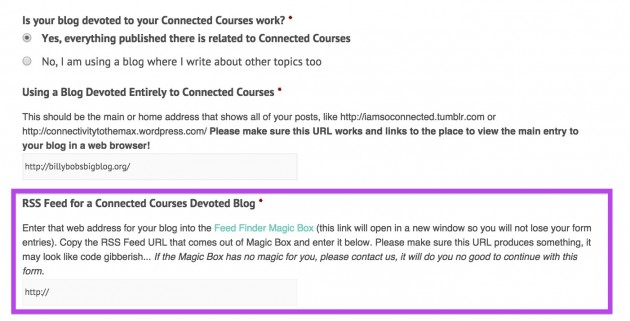 From the Connected Courses blog sign up form