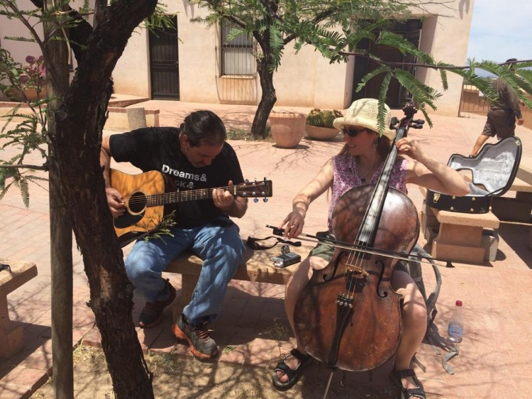 Me Playing Guitar With a UK Cellist at a Mission in Tucson