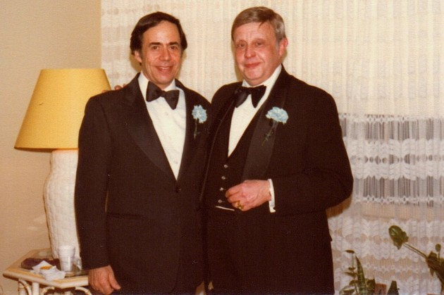 Dad and Uncle George duded up for some lodge event, 1981