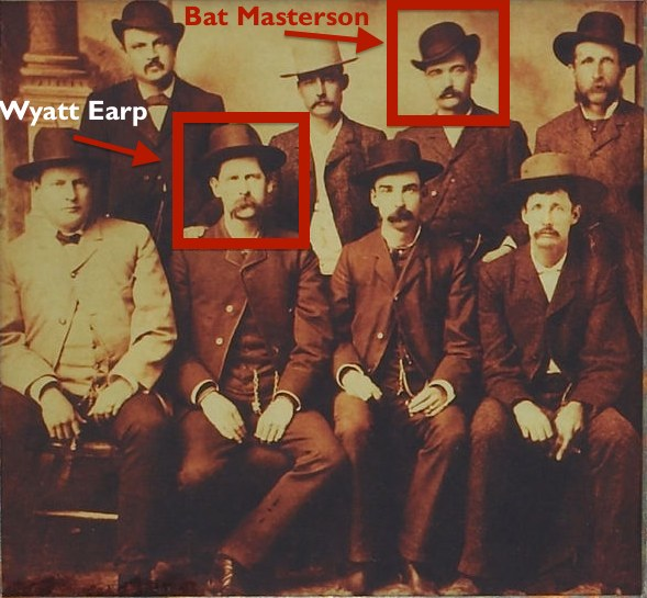 Bat Masterson and Wyatt Earp in 1883 Dodge City Peace Commission, public domain photo from WIkipedia