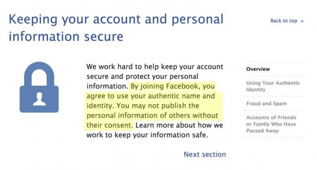 Facebook asserts that accounts use real name, identity, and do not use information of others.