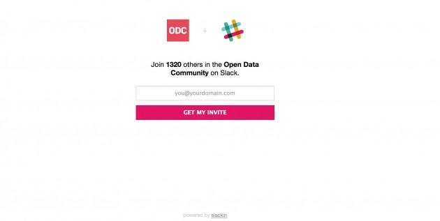 Slack splash page for Open Data Community