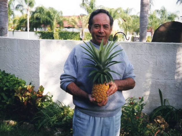 Dad and his prize pineapple