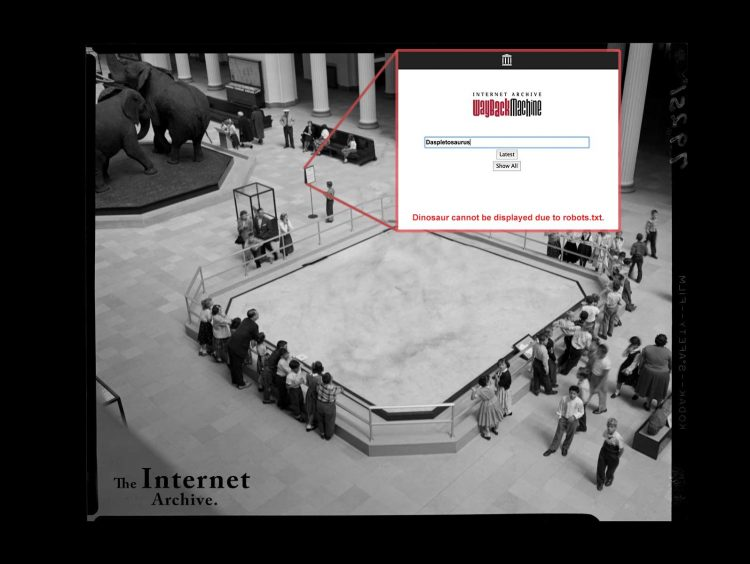 No More Dinosaurs in the Museum of the Internet Archive Due Lack of Permission from Pigeons