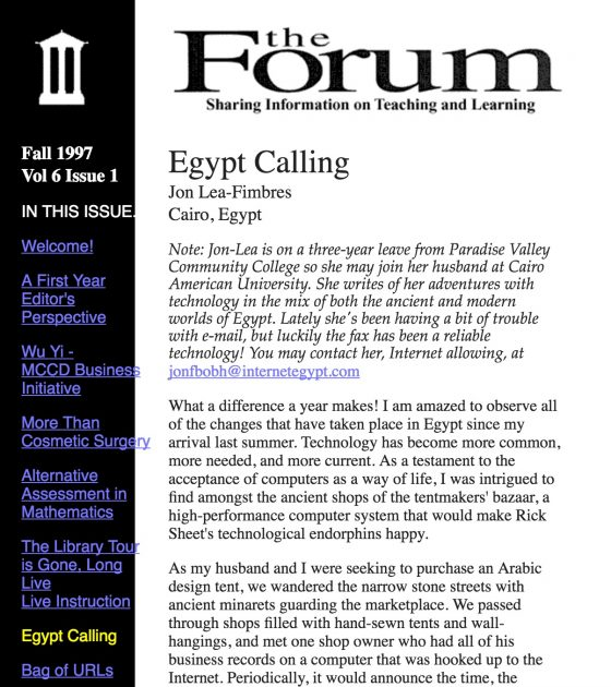 """A """"post"""" from Jon Lea in our MCLI Forum publication, 1997"""