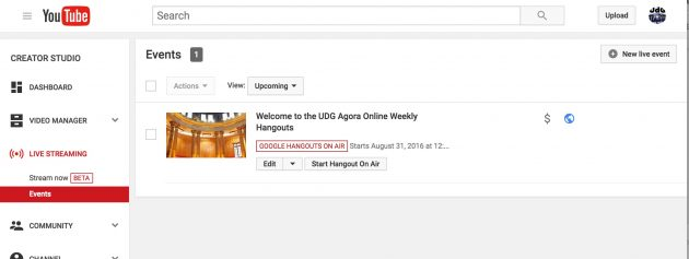 A scheduled hangout in the new YouTube interface