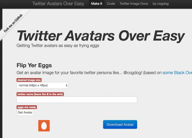 Initial view of Twitter Eggs Over Easy
