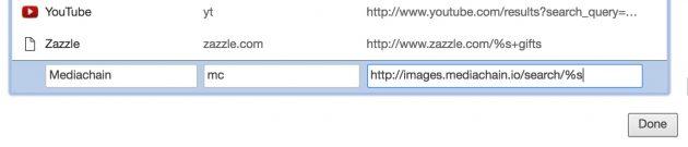 Adding Mediachain as a search shortcut