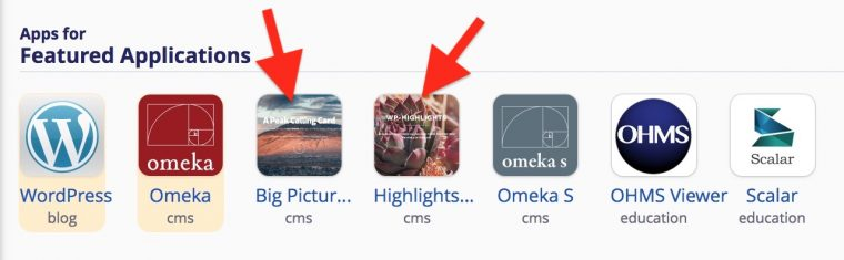 arrows pointing to the intall icons for WP Big Picture an WP Highlights