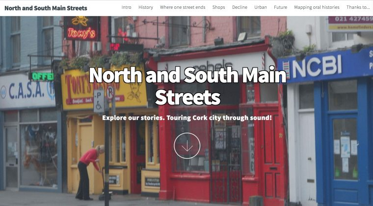 Web site for North and Main Street with text over a view of narrow shops on the streets of Cork
