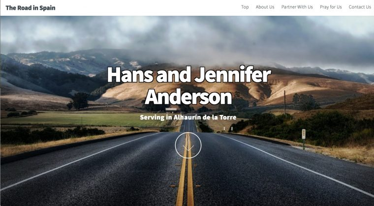 """Screen shot of Road in Spain Web site, text of """"Hans and Jennifer Anderson"""" over a road leading to mountains"""