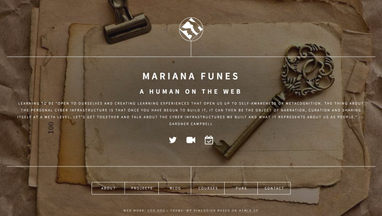 View of Mariana's Calling card site, with her name, a row of social media links, a quote, and 6 boxes of information links.