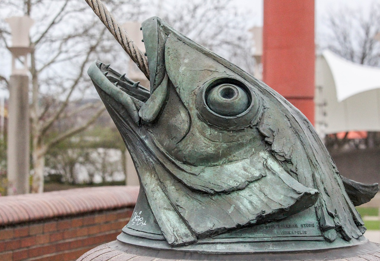 Statue of a giant fish head.