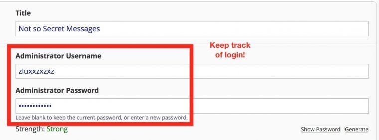 Installer settings for admin username and password