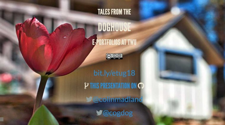 'Tales from the Doghouse: Eportfolios at TWU' slide deck opener
