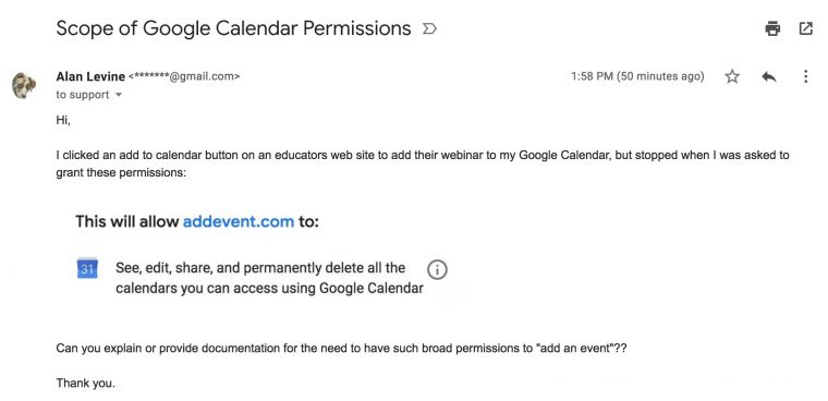 Screenshot of my email message asking the reasons for such broad permissions to my calendar