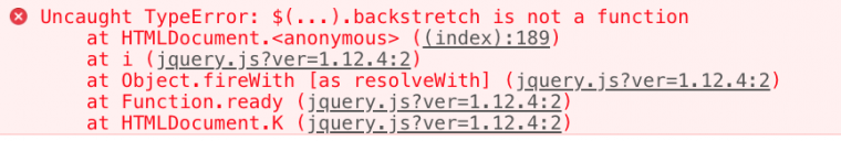 Javascript error messages indicating a missing function