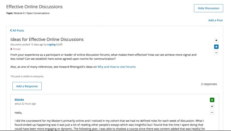 Discussion form with first question about sharing ideas for online discussions.