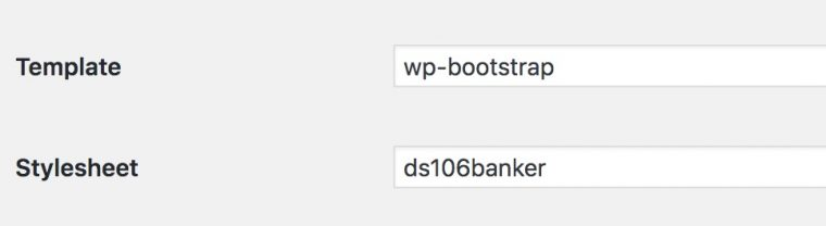 "The settings for Template read ""wp-bootstrap"" and the one for Style sheet reads ""ds106banker"""