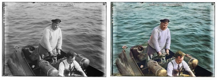 black and white photo of stern captain of boat, on the right is false color version created by an algoritm