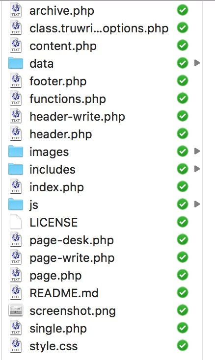 Director of files in the theme, 13 files plus 4 directories