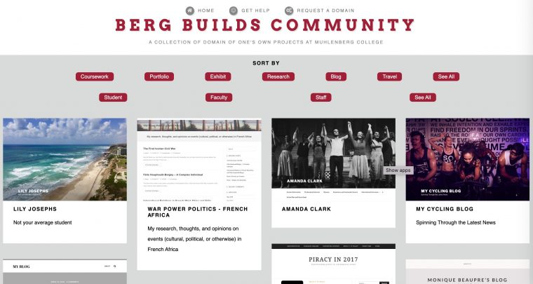 Berg Builds Commuity sites with various sort buttons that change the display of web sites screen shots.