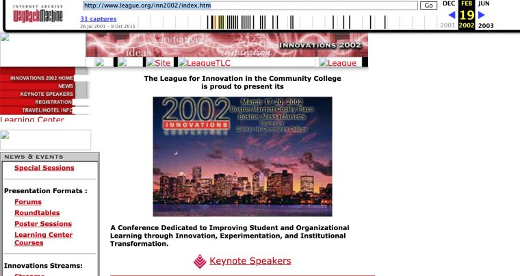 Old web page for the 2002 Innovations Conference. Broken image links but confirms a conference n Bostn=on
