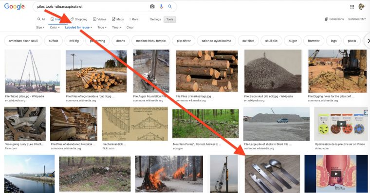 """Google image search results for """"piles tools"""" and options set for results with license to reuse. A red arrow points to one photo of a metal knife, fork and spoon -- that's my photo!"""