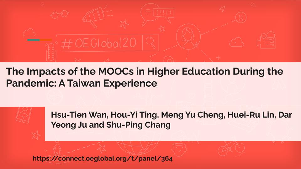 """A sample title side with session name """"The Impacts of the MOOCs in Higher Education During the Pandemic: A Taiwan Experience"""" a list of 8 presenters, and a URL. The details don't matter. Yet."""