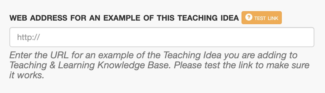 Form field asking for web address for an example of a teaching idea