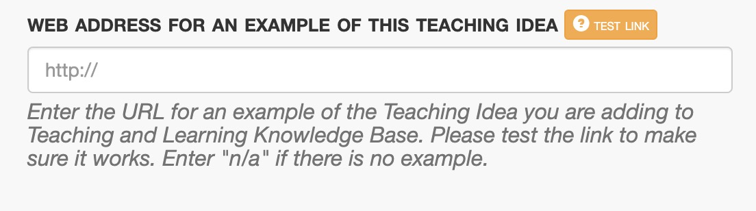 """The same form field as above, but instructions now include """"Enter 'n/a' if there is no example."""""""